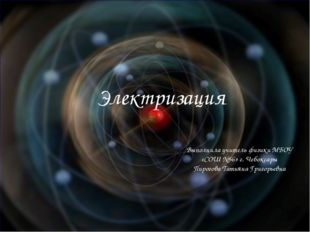 Электризация Выполнила учитель физики МБОУ «СОШ №56» г. Чебоксары Пирогова Та