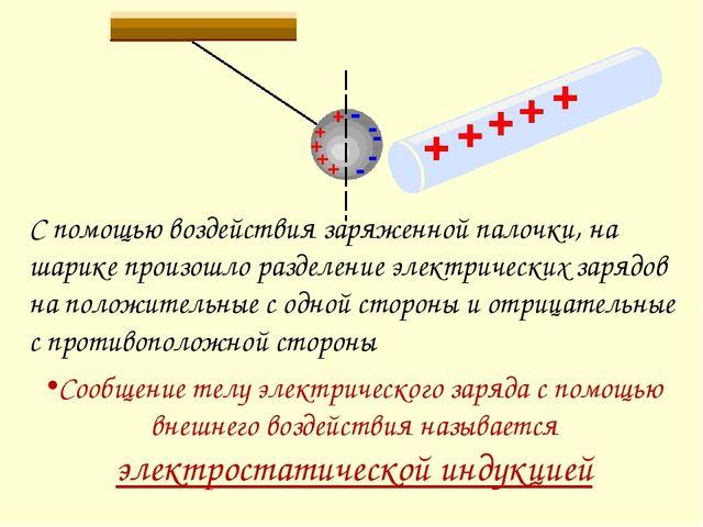 С помощью воздействия заряженной палочки, на шарике произошло разделение элек...