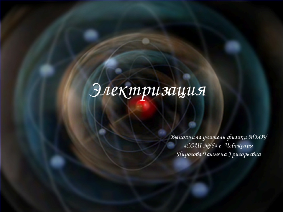 Электризация Выполнила учитель физики МБОУ «СОШ №56» г. Чебоксары Пирогова Та...