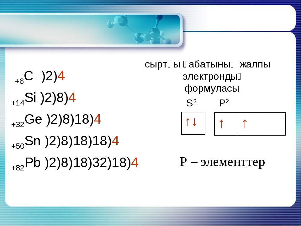 +6С )2)4 +14Si )2)8)4 +32Ge )2)8)18)4 +50Sn )2)8)18)18)4 +82Pb )2)8)18)32)18...