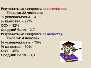 Результаты мониторинга по математике: Писали: 22 человека % успеваемости - 41