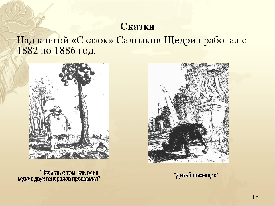 * Сказки Над книгой «Сказок» Салтыков-Щедрин работал с 1882 по 1886 год.