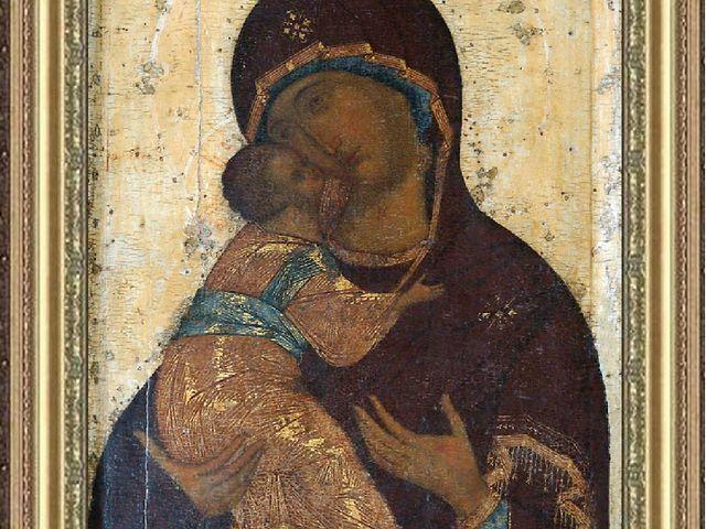 А. Рублёв. Владимирская Богоматерь. около 1409, Успенский собор, Владимир