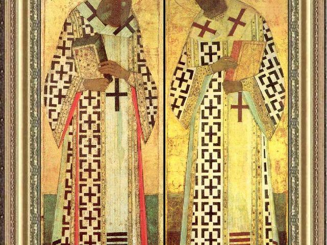 А. Рублёв?. Григорий Богослов. Иоанн Златоуст Иконы. около 1408 г А. Рублёв?....