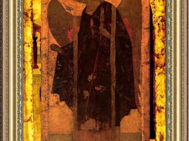 А. Рублёв?. Архангел Гавриил. Икона. Троицкий собор Троице-Сергиевой лавры. X...