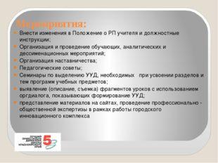 Мероприятия: Внести изменения в Положение о РП учителя и должностные инструкц