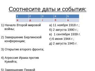 Соотнесите даты и события: 1) Начало Второй мировой войны;