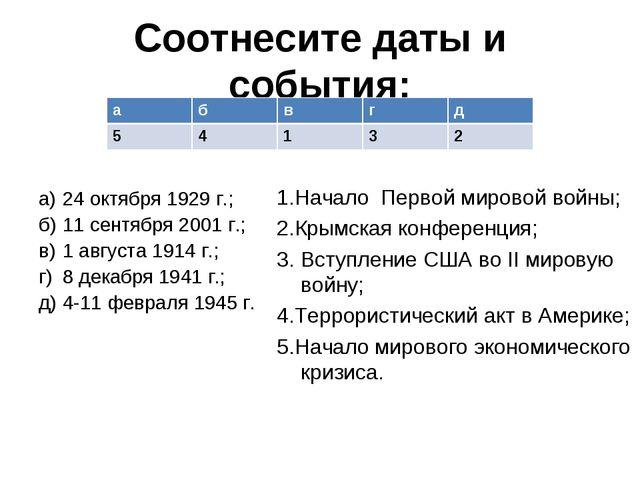 Соотнесите даты и события: а)24 октября 1929 г.; б)11 сентября 2001 г.; в)...