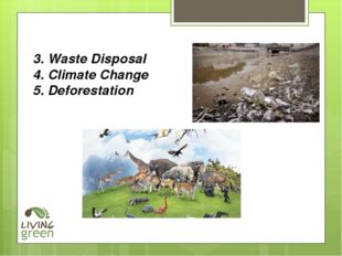 3. Waste Disposal 4. Climate Change 5. Deforestation