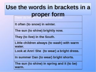 Use the words in brackets in a proper form There (to be)arefour seasons in a