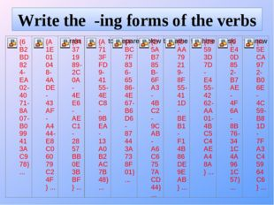Write the -ing forms of the verbs