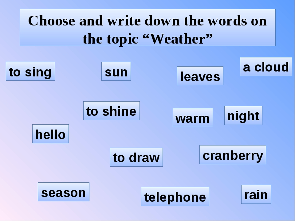 """Choose and write down the words on the topic """"Weather"""" hello night cranberry..."""