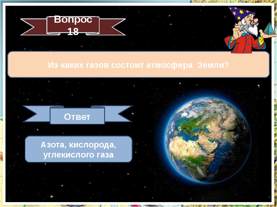 Из каких газов состоит атмосфера Земли? Вопрос 18 Ответ Азота, кислорода, угл...
