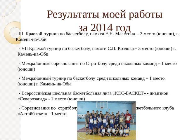 Результаты моей работы за 2014 год - III Краевой турнир по баскетболу, памяти...