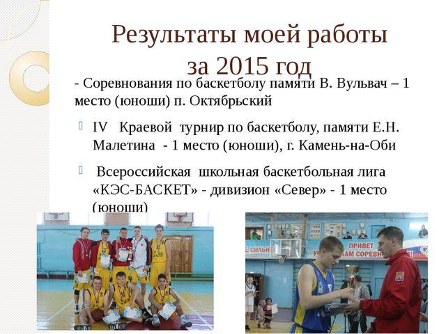 Результаты моей работы за 2015 год - Соревнования по баскетболу памяти В. Вул...
