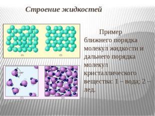 Строение жидкостей Пример ближнего порядка молекул жидкости и дальнего порядк