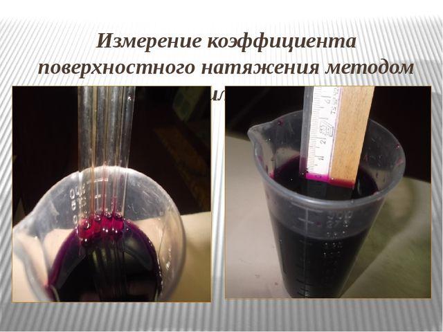 Измерение коэффициента поверхностного натяжения методом Капилляров