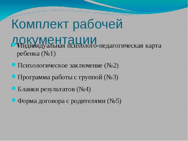 Комплект рабочей документации Индивидуальная психолого-педагогическая карта р...