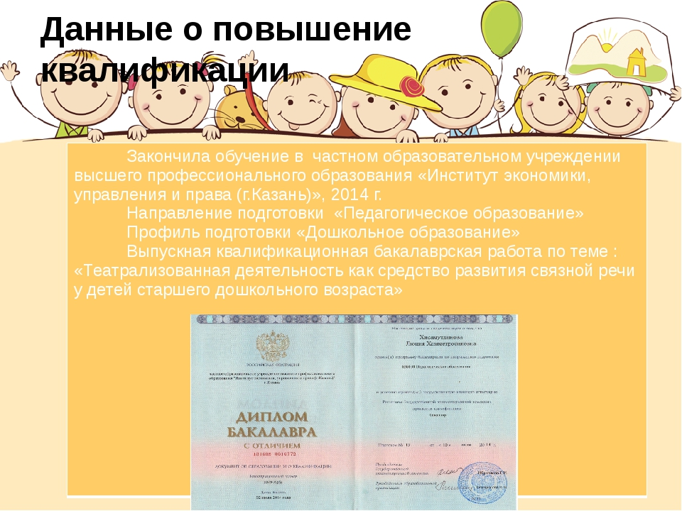 Данные о повышение квалификации Закончилаобучениевчастном образовательном учр...