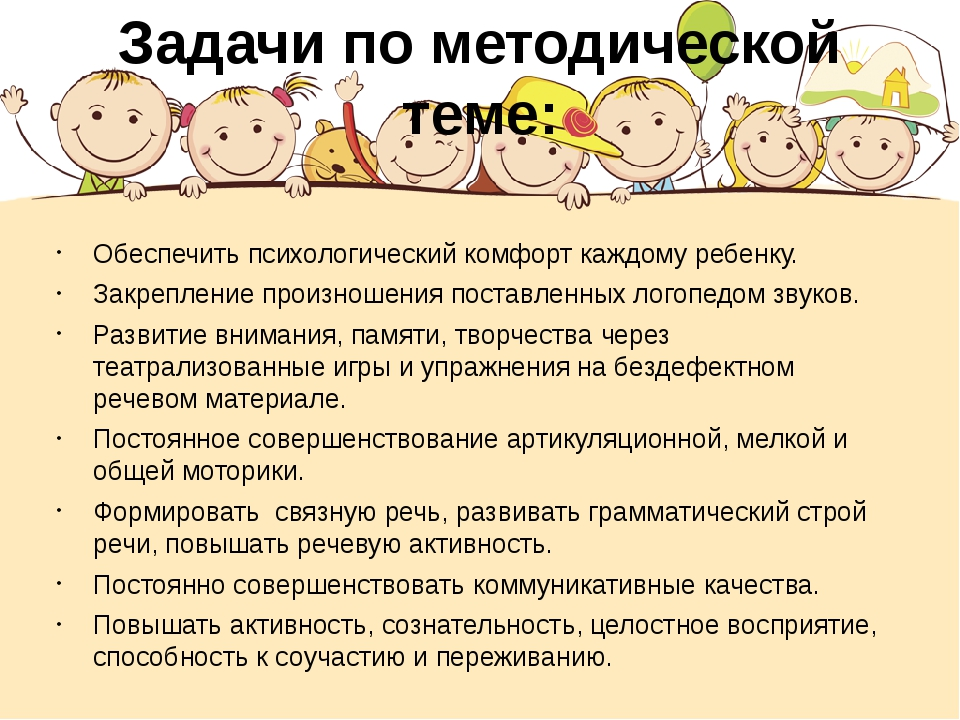 Задачи по методической теме: Обеспечить психологический комфорт каждому ребен...