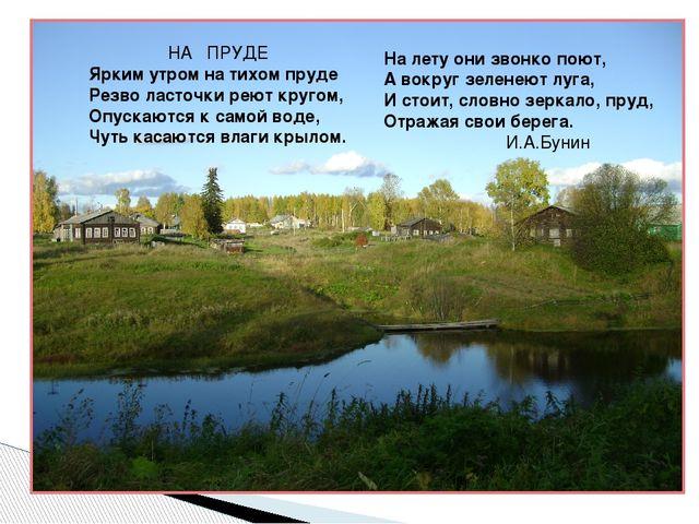 НА ПРУДЕ Ярким утром на тихом пруде Резво ласточки реют кругом, Опускаются к...