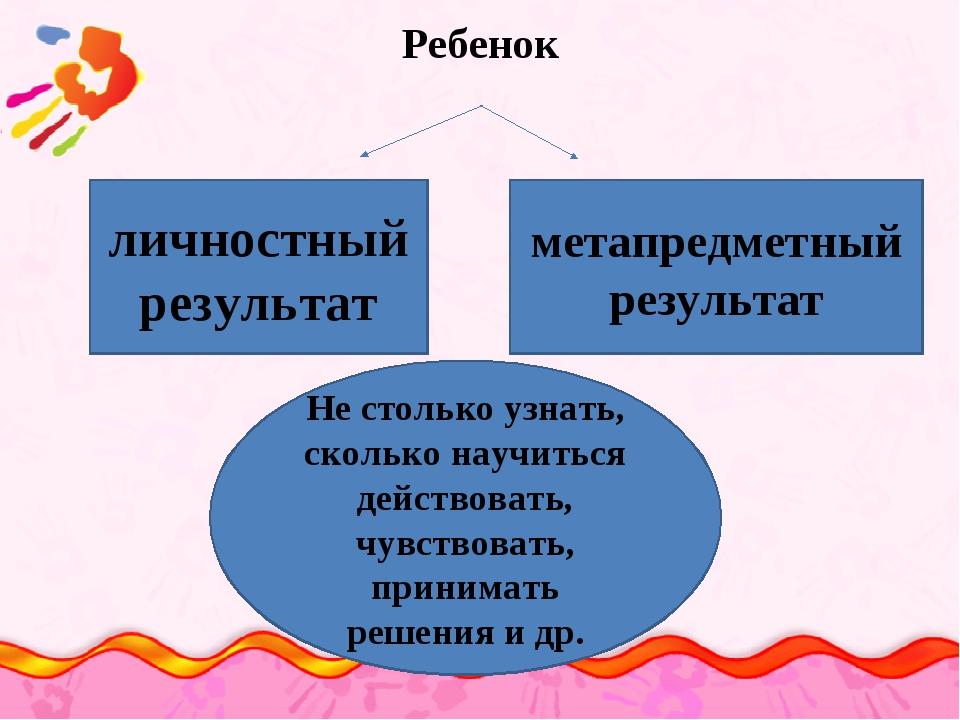 Ребенок личностный результат метапредметный результат Не столько узнать, скол...