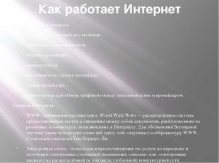 Как работает Интернет Участники процесса: компьютер пользователя с модемом ло