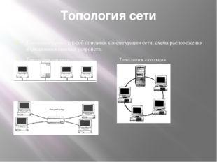 Топология сети Топология сети - способ описания конфигурации сети, схема расп