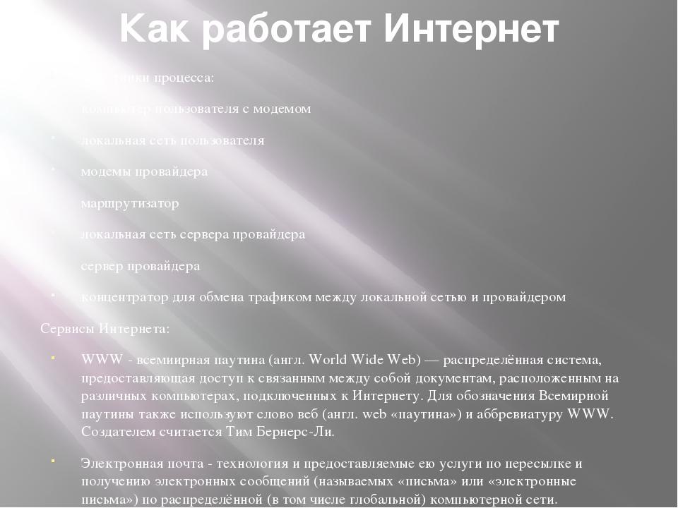 Как работает Интернет Участники процесса: компьютер пользователя с модемом ло...