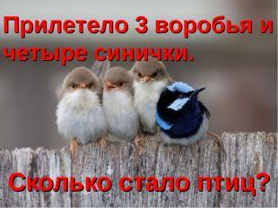 Сколько стало птиц? Прилетело 3 воробья и четыре синички.