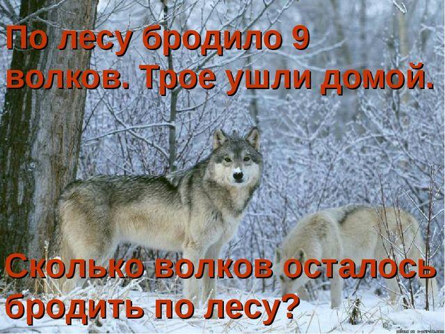 По лесу бродило 9 волков. Трое ушли домой. Сколько волков осталось бродить по...
