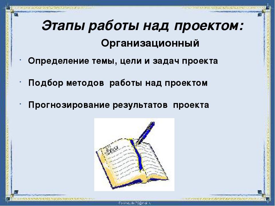 Этапы работы над проектом: Организационный Определение темы, цели и задач пр...