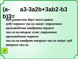 Примеры вариантов некоторых формул: a2 + b2 = (a + b)2 – 2ab a2 + b2 = (a – b