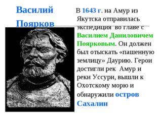 Василий Поярков В 1643 г. на Амур из Якутска отправилась экспедиция во главе