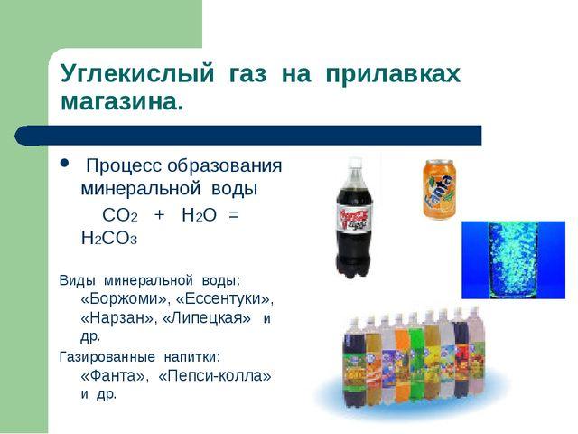 Углекислый газ на прилавках магазина. Процесс образования минеральной воды СО...