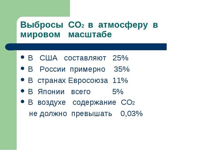 Выбросы СО2 в атмосферу в мировом масштабе В США составляют 25% В России прим...