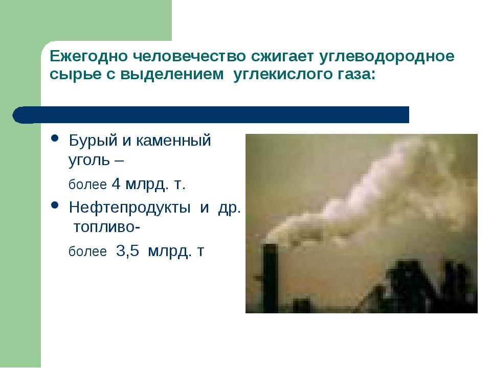 Ежегодно человечество сжигает углеводородное сырье с выделением углекислого г...