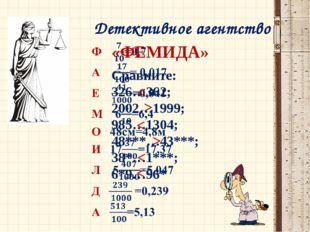 Детективное агентство «ФЕМИДА» Сравните: 326…362; 2002…1999; 985…1304; 48***…