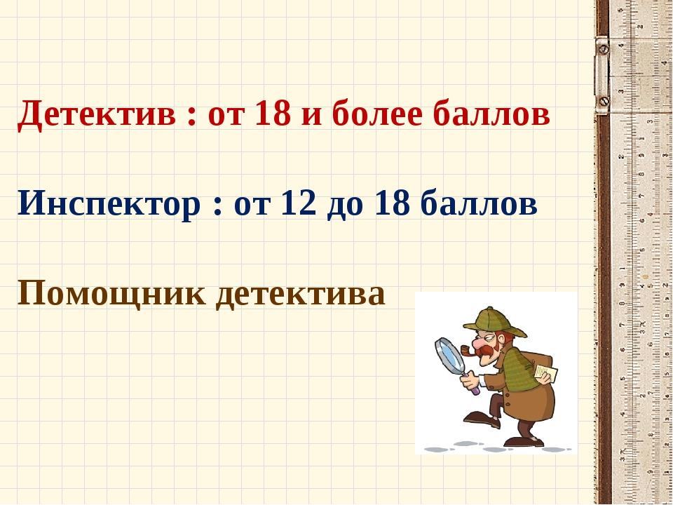 Детектив : от 18 и более баллов Инспектор : от 12 до 18 баллов Помощник детек...
