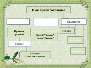 Имя прилагательное Обозначает Отвечает на вопросы Изменяется Признак предмета