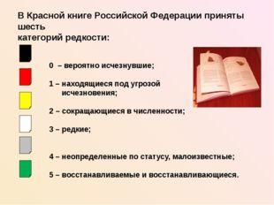 В Красной книге Российской Федерации приняты шесть категорий редкости: 0 – ве