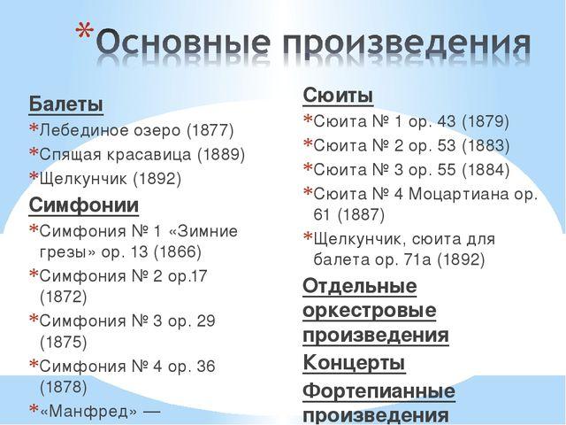 Балеты Лебединое озеро (1877) Спящая красавица (1889) Щелкунчик (1892) Симфон...