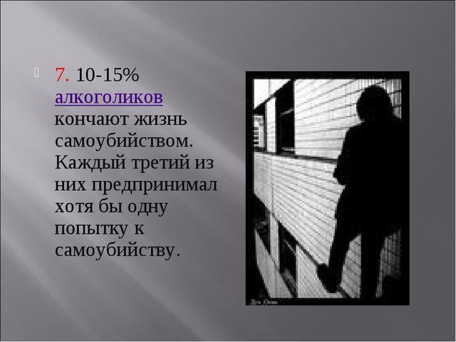 7. 10-15% алкоголиков кончают жизнь самоубийством. Каждый третий из них пред...