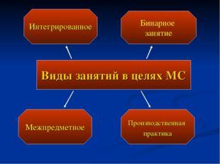 Виды занятий в целях МС Интегрированное Межпредметное Производственная практи