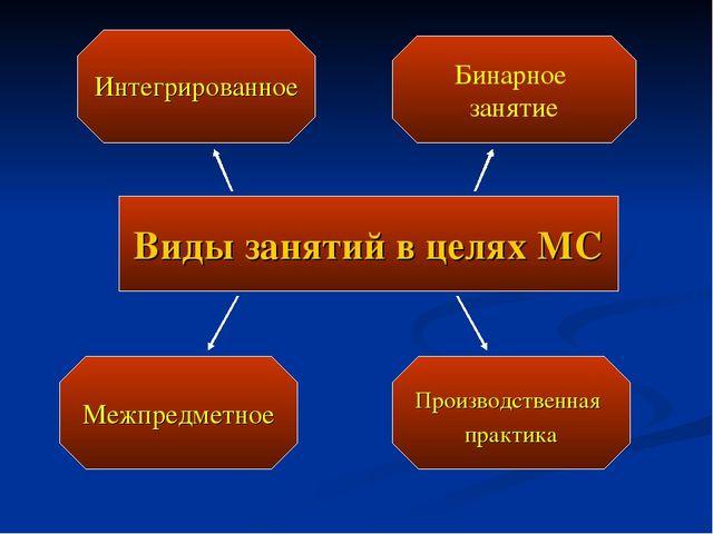 Виды занятий в целях МС Интегрированное Межпредметное Производственная практи...