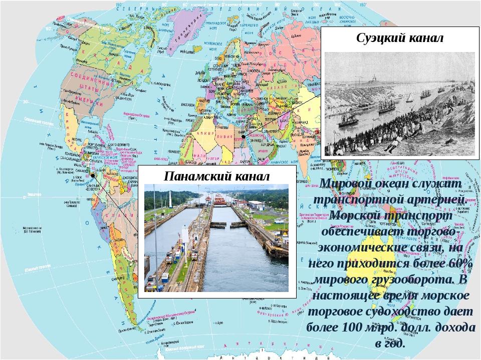 Суэцкий канал Панамский канал Мировой океан служит транспортной артерией. Мор...