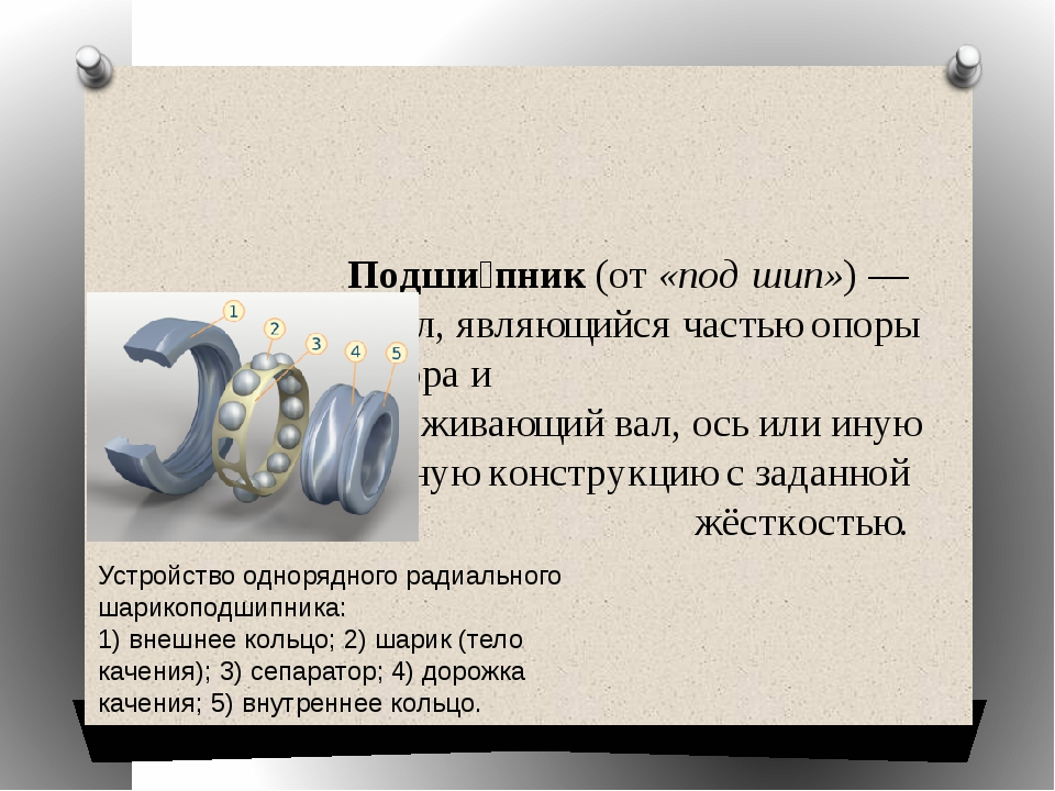 Подши́пник(от«подшип») —сборочный узел, являющийся частьюопорыилиупор...