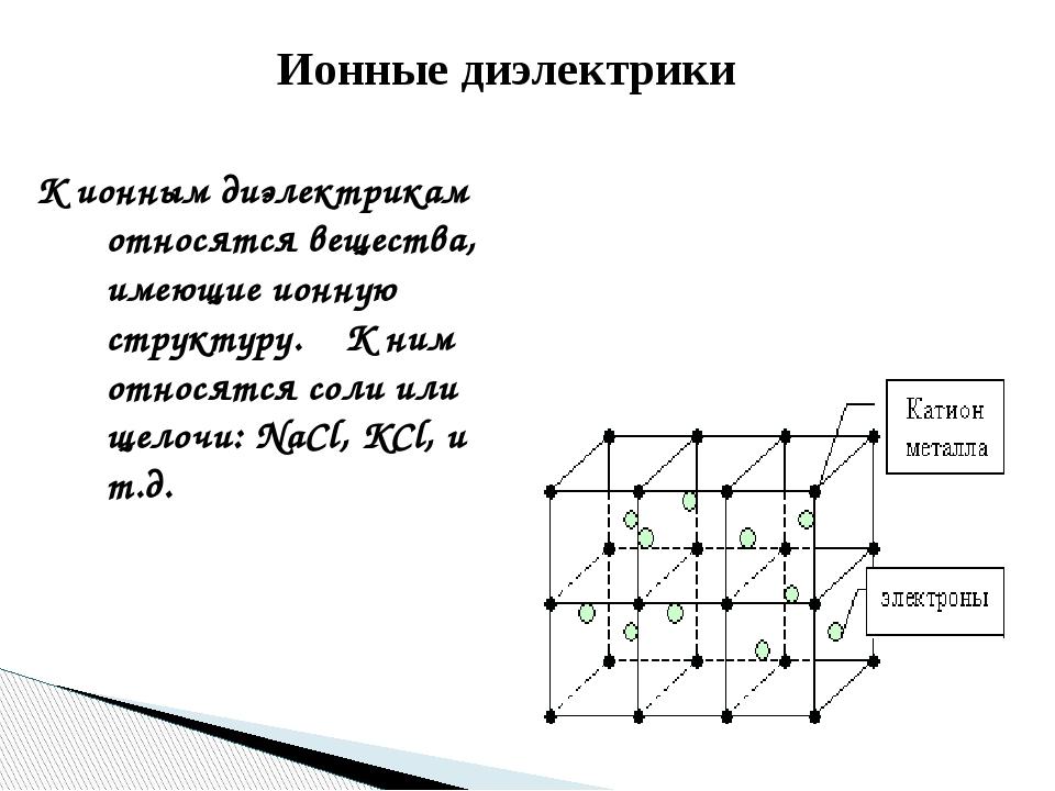 Ионные диэлектрики К ионным диэлектрикам относятся вещества, имеющие ионную с...