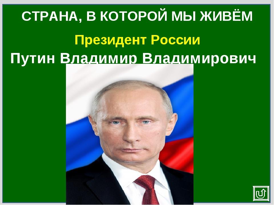 Президент России СТРАНА, В КОТОРОЙ МЫ ЖИВЁМ Путин Владимир Владимирович
