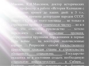 Мнение. К.Н.Максимов, доктор исторических наук, профессор, в работе «История